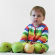 Adorable child with apples — Stock Video