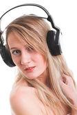 Woman with headphone — Stock Photo