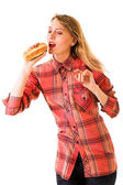 Girl with fast food — Stock Photo