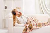 Girl with headphone — Stock Photo