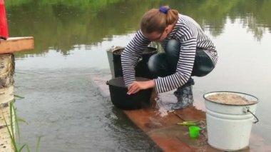 Young woman washing pan — Stock Video