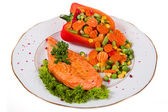 Salmon with vegetable — Stock Photo