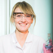 Researcher in modern laboratory — Stock fotografie