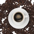 Stock Photo: Coffee beans and cup of coffee background isolated