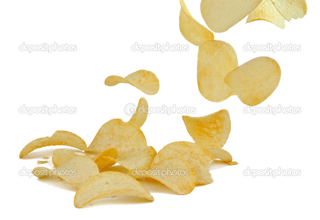 Potato chips on white background — Stock Photo #12800123