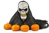 Halloween skull and pumpkin — Stock Photo