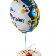 Birthday cake and balloon isolated — Stock Photo