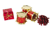 Christmas drum isolated — Stockfoto