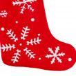 Traditional fur red Christmas stocking — Stockfoto