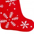 Traditional fur red Christmas stocking — Stock Photo