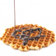 Waffles with chocolate isolated — Stock Photo