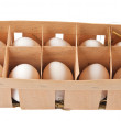 Eggs in box isolated — Stock Photo
