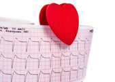 Electrocardiogram with a heart — Stock Photo