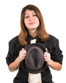 Portrait of a girl with a hat isolated — Stock Photo