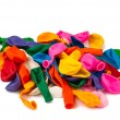 Stock Photo: Close view of a bunch of colorful deflated balloons