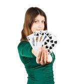 Beautiful young girl in casino — Stock Photo