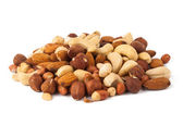 Mixed nuts - hazelnuts, walnuts, almonds, pine nuts — Stock Photo