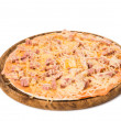 Pizza with salami isolated - Foto de Stock