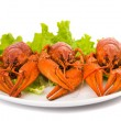Boiled crawfish and lettuce - Stok fotoraf