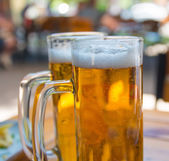 Twee bier mokken close-up — Stockfoto