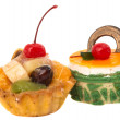 Cakes with fruit isolated — Foto Stock