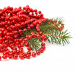 Stock Photo: Christmas garland made from small red beads.