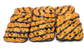 Cookies with chocolate icing — Stock Photo