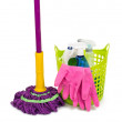 Mop, plastic bucket and rubber gloves — Stock Photo #49810469
