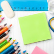 Stock Photo: Set of stationery school and office tools