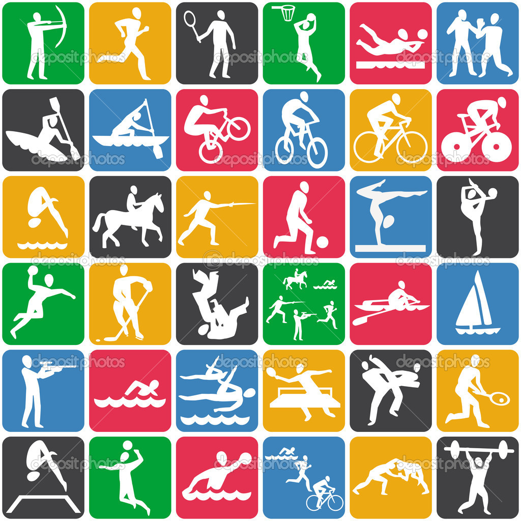 Seamless pattern with sport icons stock illustration