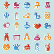 Set of vector stickers with kids and toys - 图库矢量图片