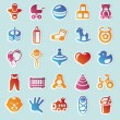 Set of vector stickers with kids and toys - Imagen vectorial