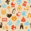 Vector seamless pattern with bright kid icons — Stok Vektör