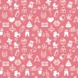 Vector seamless pattern with bright kid icons — Vector de stock