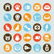 Set of vector stickers with pet icons - Stock Vector