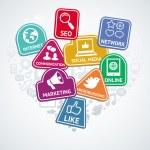 Vector pegatinas con las redes sociales e internet — Vector de stock