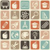 Modèle sans couture de vecteur avec des icônes de l'éducation — Vecteur