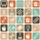 Vector seamless pattern with education icons — Stockvector