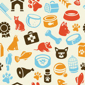 Pattern with funny cat and dog icons — Stock Vector