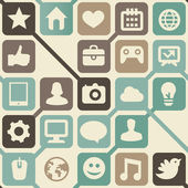 Vector seamless pattern with social media icons — Stockvector