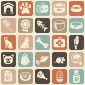 Pattern with funny cat and dog icons — Stok Vektör