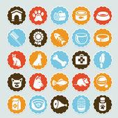 Ensemble d'autocollants de vecteur avec des icônes pour animaux de compagnie — Vecteur
