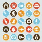 Set of vector stickers with pet icons — Stock Vector