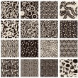 Stock Vector: Set of abstract seamless patterns black and white