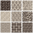 Set of abstract seamless patterns black and white — Stock Vector