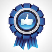 Vector like sign on glossy award icon — Vector de stock