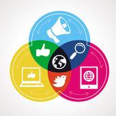 Vektör sosyal medya kavramı — Stok Vektör