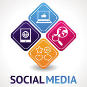 векторный концепт социальных средств массовой информации — Cтоковый вектор