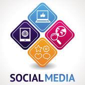 Conceito de mídia social do vetor — Vetorial Stock