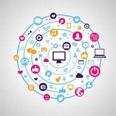étiquettes rétro avec des icônes de médias sociaux — Vecteur